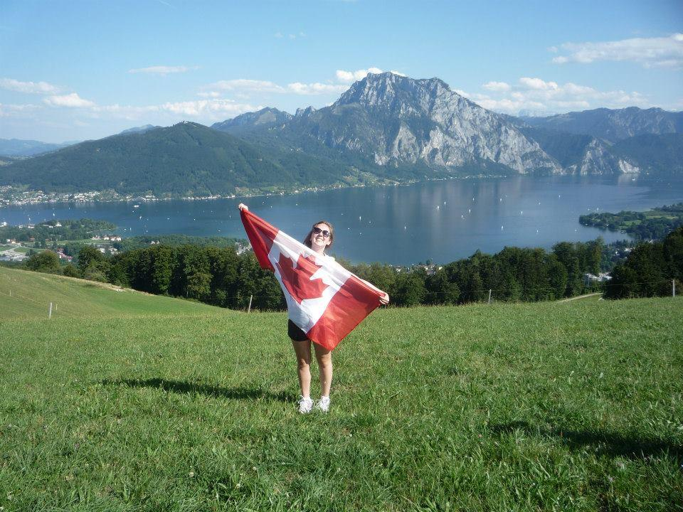 Nicole Johnston feeling patriotic in Austria where she is spending the year.