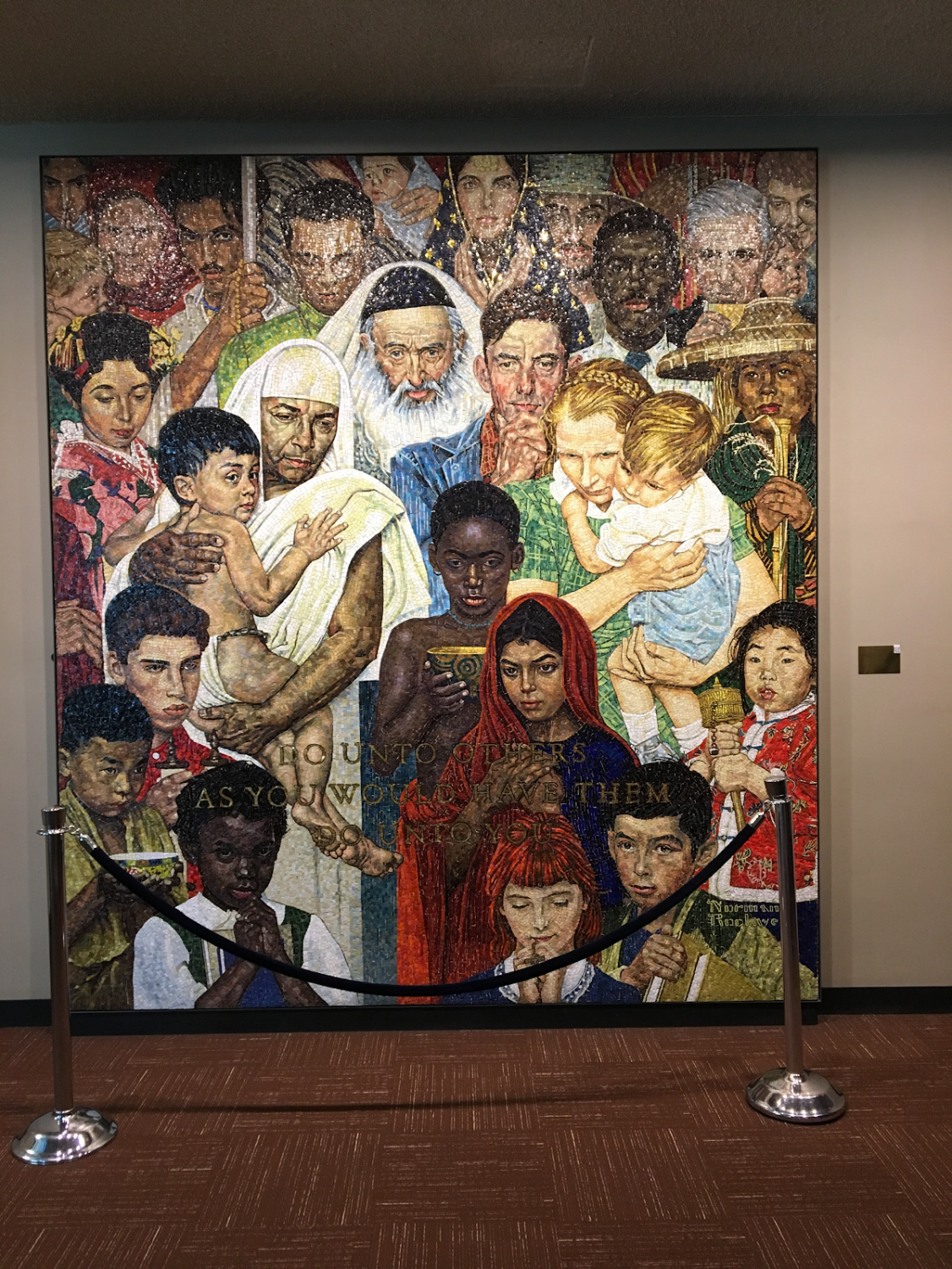 This mural was donated to the UN by the First Lady Nancy Reagan in 185, a gift on behalf of the US. The UN was full of beautiful pieces of art from many different countries, but this one was by far my favourite. The whole building had dated and intricate designs, giving the UN lots of history and character. Before going to the UN, I was not very excited, but by the end of it, it was one of my favourite parts of New York. Our tour guide was very well educated about all the facts and history, which helped make it even more interesting than it already was.