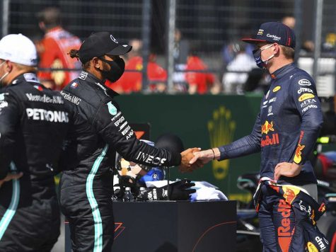 Motorsports: FIA Formula One World Championship 2020, Grand Prix of Austria, #44 Lewis Hamilton (GBR, Mercedes-AMG Petronas Formula One Team), #33 Max Verstappen (NLD, Aston Martin Red Bull Racing), | usage worldwide